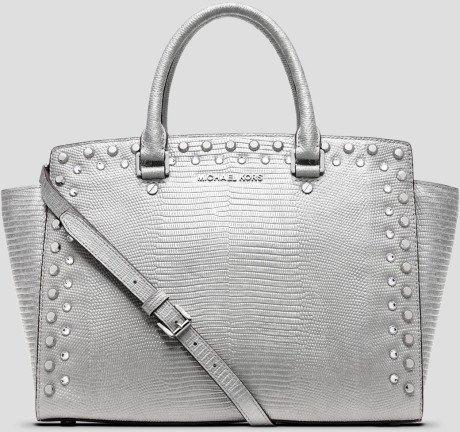 MICHAEL Michael Kors Selma Leather Jewel Studded Large Top Zip Satchel Handbag Silver