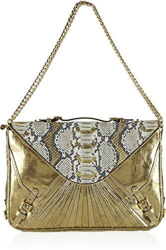 Rebecca Minkoff Gold Crackled Metallic Leather Cali Snake Effect Maria Large Shoulder Bag