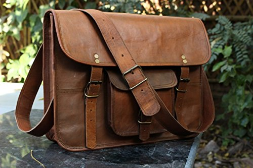HLC Leather Unisex 100% Genuine Real Leather Messenger Bag for Laptop Briefcase Satchel …