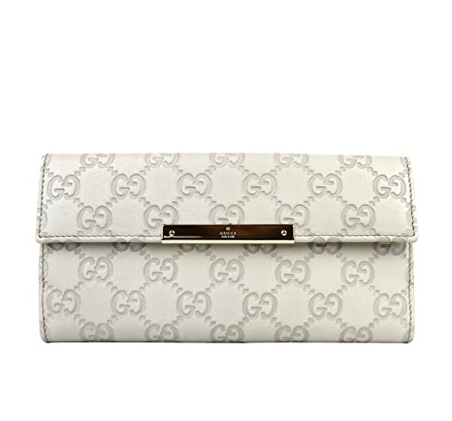 Gucci Women's Off White Guccissima Wallet Leather Continental Clutch 112715 9022