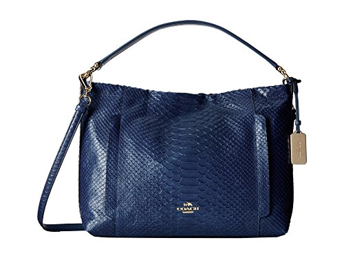Coach Embossed Python Leather Scout Hobo Bag 35326 Denim Blue