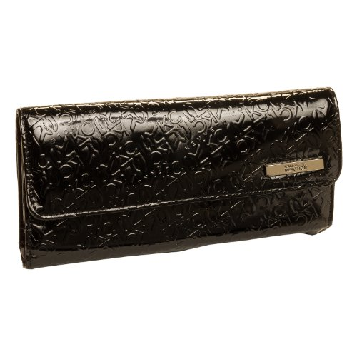 Kenneth Cole Reaction Womens Patent KCR Logo Tri Me a River Trifold Wallet