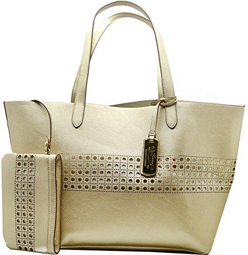 Lauren Ralph Lauren Womens Gold/ Ivory Leighton Large Tote Handbag