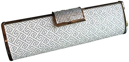 Joy Collection Crystals Clutch Evening Bag Handbag Silver Design Satin