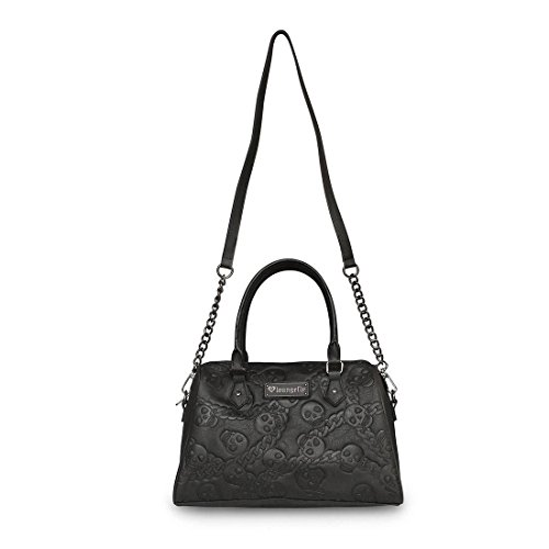Loungefly Black Purse Faux Leather Embossed Skull and Chain Crossbody Bag