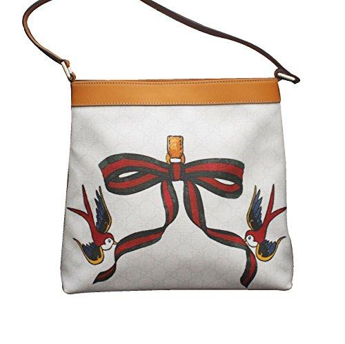 Gucci White Canvas Bird Ribbon Tattoo Handbag Meier Hobo Bag 254639 9075