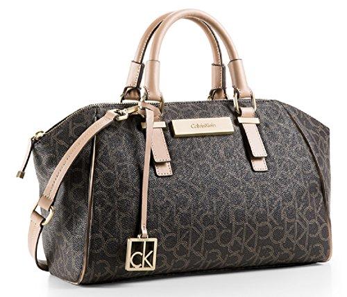 Calvin Klein Jordan Logo City Dome Bag Handbag (Brown)