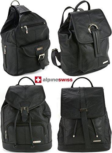 Womens Alpine Swiss Genuine Leather Backpack Purse Handbags – 1 Year Mfg's Warranty