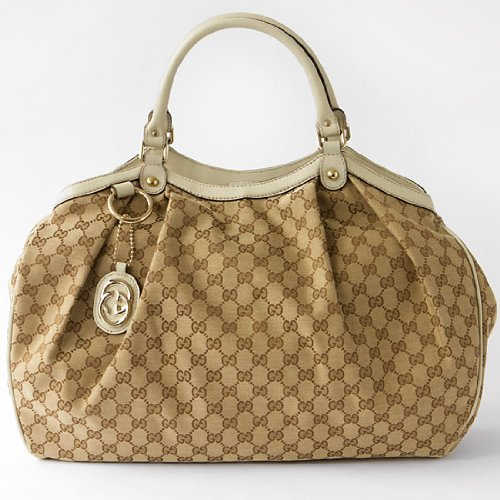 Brand New Gucci Large Sukey Handbag Tote in Beige Fabric Off White Leather Trim