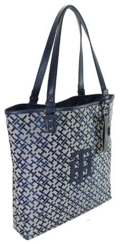 Tommy Hilfiger TH Logo Handbag Tote in Navy Blue & Tan