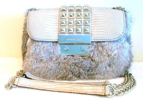 Michael Kors Flurry Gray Fur Rabbit Handbag Purse Small Stud Shoulder Flap NEW
