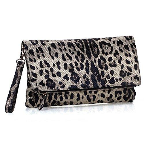BMC Womens Animal Print Faux Snake Skin Texture Foldover Fashion Clutch Handbag
