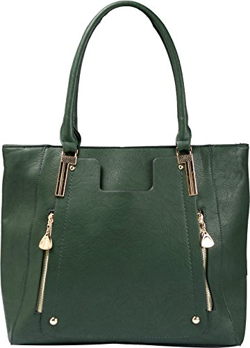 Authentic Arcadia Multi-Pocket Fashion Tote w/ Dual Zippered Front (GREEN COLOR): JZ6126-GN