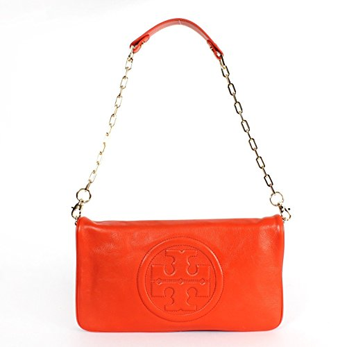Tory Burch Bombe Reva Blood Orange Leather Clutch & Shoulder Bag