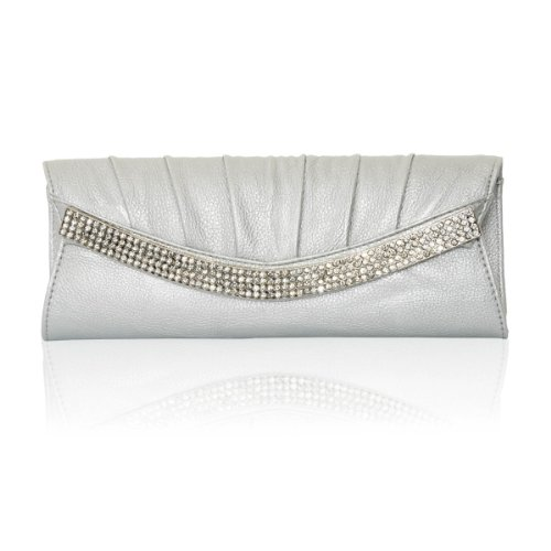 Faux Leather Silver Evening Bag Clear Rhinestone Ornament and Pleated Flap Clutch