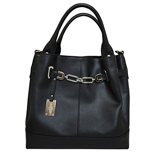 427c9bcfb0 Carbotti Designer Italian Silver Chain Leather Hobo Handbag Shoulder Bag  Black