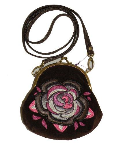Nica Jill Crossbody Brown Velvet Pouch Evening Bag