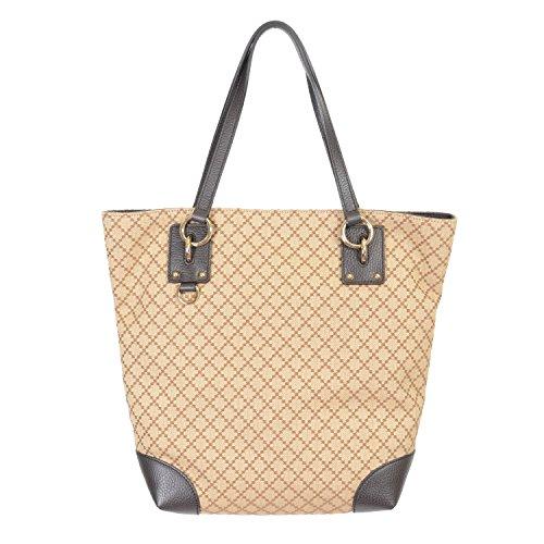 Gucci Women's Beige Canvas Leather Trimmed Tote Shoulder Bag