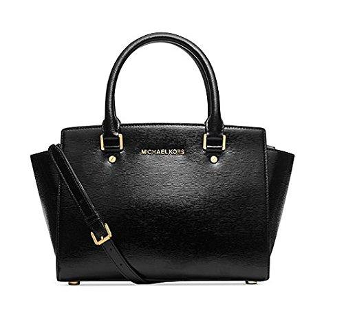 Michael Kors Medium Selma Patent Leather Satchel in Black