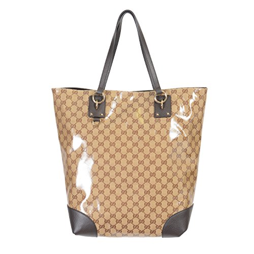 Gucci Women's Canvas Leather Trimmed Crystal Coated Guccissima Print Tote Shoulder Bag