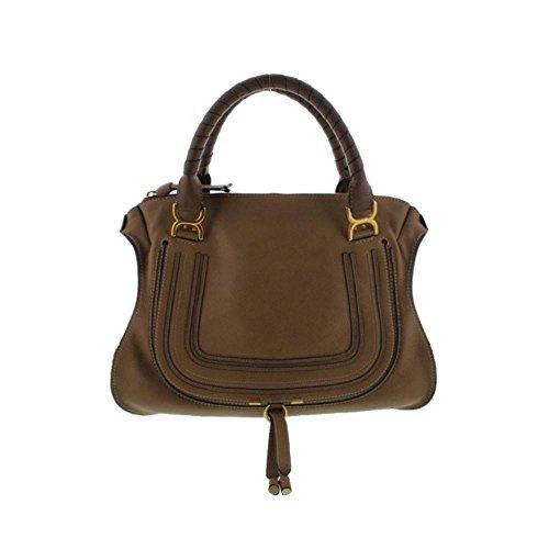Chloe Womens Marcie Pebbled Leather Satchel Handbag