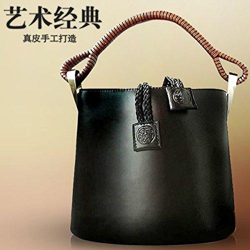 Women Genuine Leather Barrel Handbag Satchel Hobo Tote