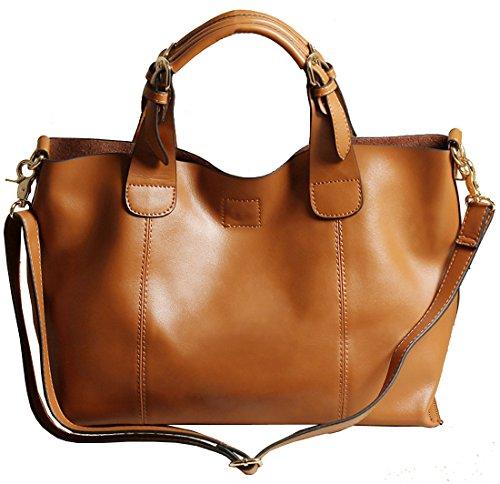 Heshe® New Genuine Leather Fashion Women's Simple Style Tote Top Handle Shoulder Bag Cross body Messenger Purse Satchel Handbag For Ladies