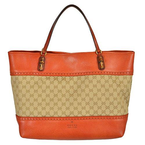 Gucci Women's Guccisima Print Canvas Leather Trimmed Tote Handbag Shoulder Bag