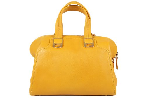 Fendi women's leather handbag shopping bag purse chameleon yellow