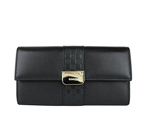 Gucci Women's Black Leather Engraved Metal Plate Continental Wallet Clutch 233028 1000