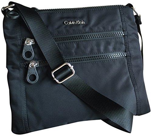 Calvin Klein Nylon Double Zippers Crossbody Bag Black