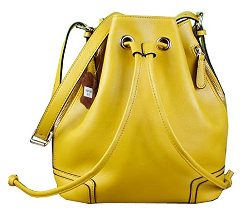 Heshe® New Luxury Soft Genuine Leather Fashion Buckets Shoulder Cross Body Drawstring Bag Purse Women's Handbag