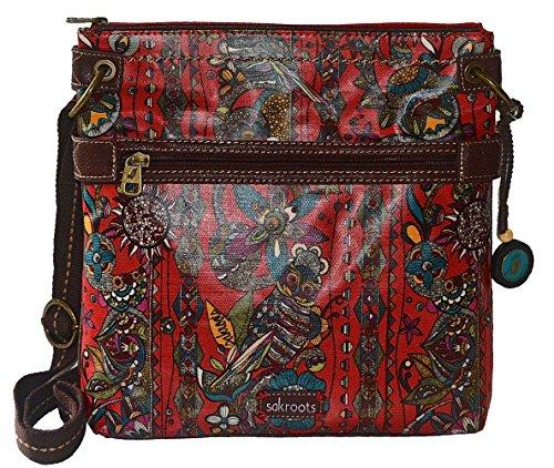 The Sak Artist Circle Crossbody Handbag Black Peace Print Bag Purse