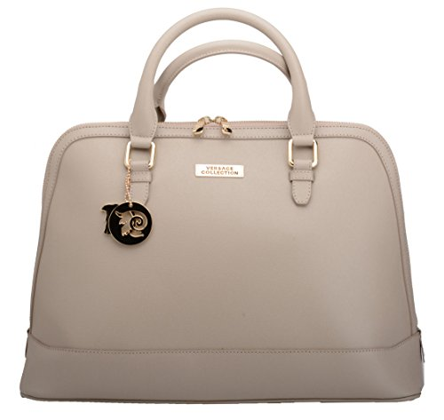 Versace Collection Women's Fashion Beige Handbag Saffiano Print LBFS374-LVSS