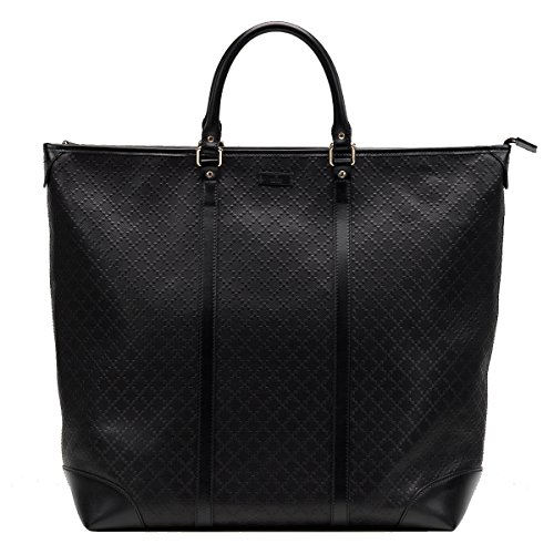 Gucci Diamante Leather Large Zip Top Unisex Tote Bag 308896, Black