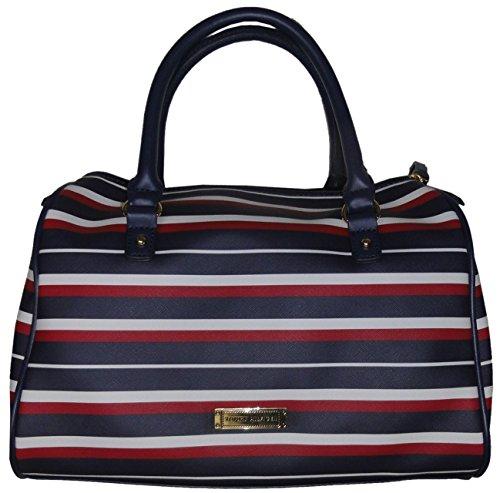 Tommy Hilfiger Women's Satchel Style Handbag, Red/White/Blue Striped