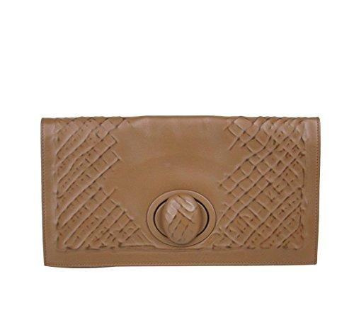 Bottega Veneta Brown Leather Handbag Clutch Bag 301233 2517