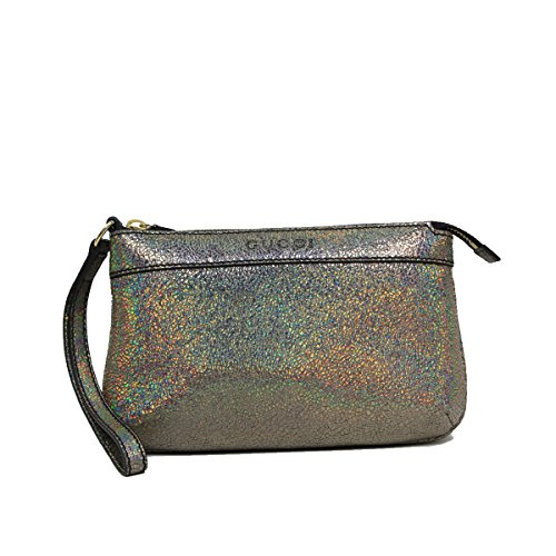 Gucci Leather Metallic Silver Textured Leather Wristlet Clutch Bag 274181