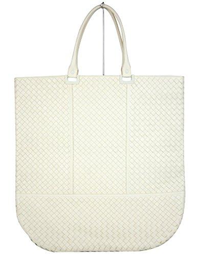 Bottega Veneta White Large Leather Woven Tote Bag 314718 9904