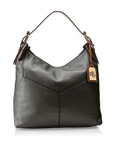 Lauren by Ralph Lauren Landrey Zip Top Leather Hobo, Black