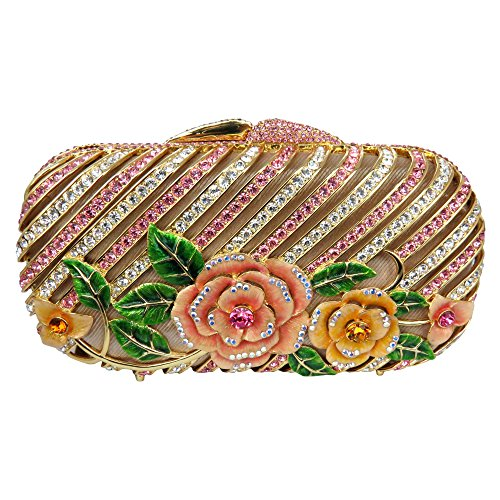 Yellow and Rose Pink Clutch with Crystallized Swarovski Elements