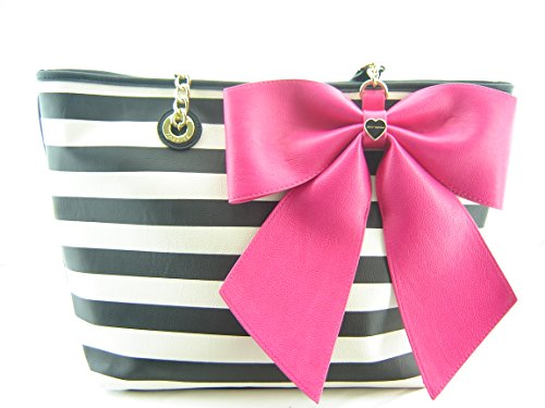 Betsey Johnson Large Bow Candy Stripe E/W Tote Multi
