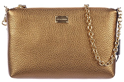 Dolce&Gabbana women's leather clutch handbag bag purse martellata gold