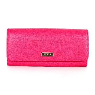 Furla Saffiano Leather Classic XL Bi-fold Flap Wallet Gloss Pink