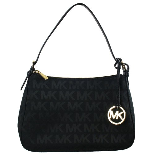MICHAEL Michael Kors Small Top Zip Shoulder MK Signature Bag Black