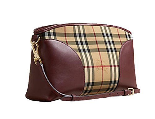 Burberry Horseferry Check and Leather Clutch Honey/deep Claret