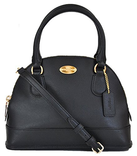 COACH Crossgrain Leather Mini Cora Dom Satchel Crossbody Bag Black