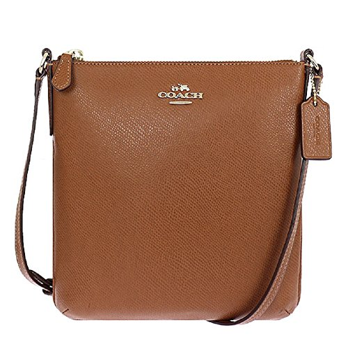 COACH NORTH/SOUTH CROSSBODY IN CROSSGRAIN LEATHER, F36063, SADDLE