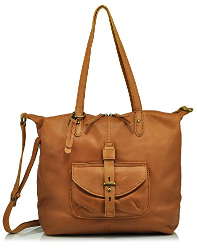 Lucky Brand Medine Leather Tote Bag, Tobacco, One Size
