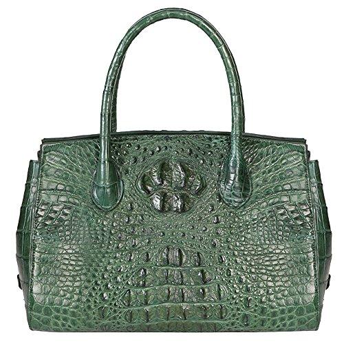 GAVADI Women Real Crocodile Leather Tote Handbag Green G031